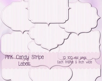 Candy Stripe Pink & White Digital Labels, Scrapbook Supplies, png files.