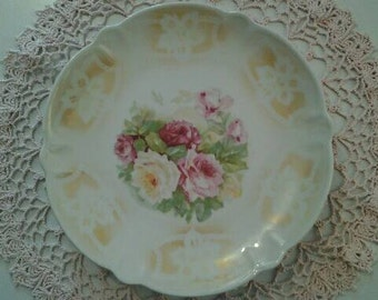 Antique Plate with Roses Made in Germany