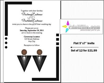 gay wedding invitations set of 12 flat 5x7 invites black tux wedding - Same Sex Wedding Invitations