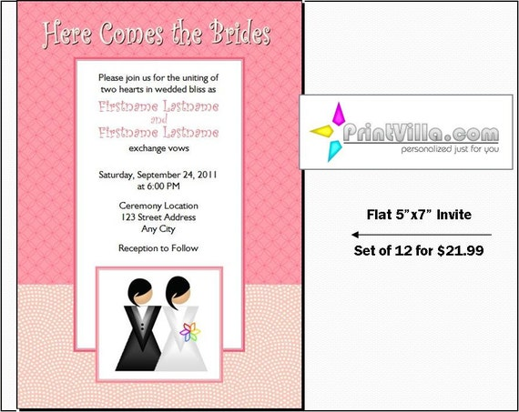 Gay Wedding Invite: Lesbian Wedding Invitations Set Of 12 Flat 5x7 Invites
