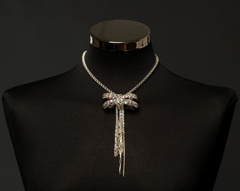 Glamourous,luxury statement necklace choker-with chain. knitted in italian yarn and Swarovski Crystal.