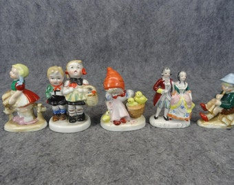 Set of 5 Made In Occupied Japan Hand-Painted Figurines