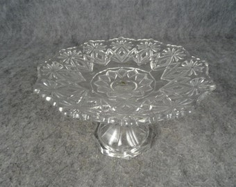 Vintage Glass Compote Serving/Candy Dish with Ornate Design Etching