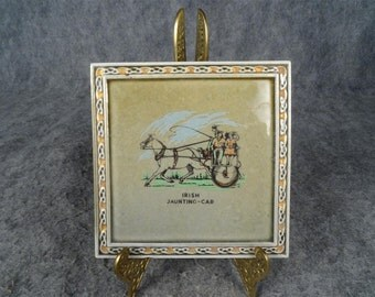 Hot Plate Tile by Wade Co Armagh - Titled: Irish Jaunting Car - made of Irish Porcelain
