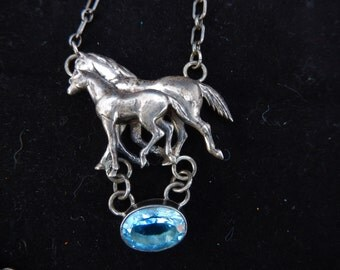 CAROL FELLEY WILD Horse and foal with blue topaz stone rare huge dimensional pendant rare felley 1991 necklace southwest