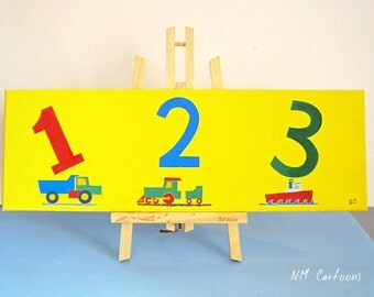 "Numbers ""1 2 3"" Canvas, Handmade Acrylic Painting for Kids Rooms or Playrooms, Art for Children, 20x60cm"