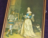 Vintage Gerard Terborch framed picture A Lady at her toilet wood frame.