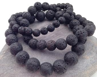 Lava bracelets, black bracelet, gift for him, gift for her, unisex bracelet, mens bracelet, black lava bead bracelet, diffuser bracelet