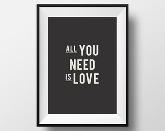 All you need, is love, Minimalistic Art, Black, White, Home Décor, Wall Décor, Wall Hangings, Bedroom, Room Art, Scandinavian Art