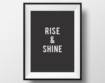 Rise and Shine, Home Decor, Wall Art, Print, Poster, Rise, Shine, Art, Motivational, Inspirational Quote, Scandinavian Art, Inspirational