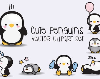 Premium Vector Clipart - Kawaii Penguins - Cute Penguins Clipart Set - High Quality Vectors - Instant Download - Kawaii Clipart