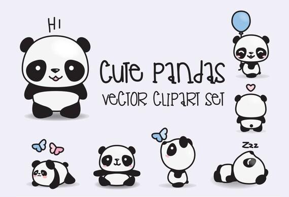 Premium-Vector Clipart Kawaii Pandas Hübsch Pandas Clipart