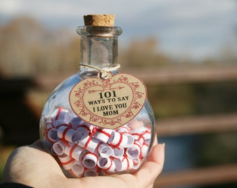 Unique Mothers Day Gift for MOM, Message in a Bottle gift of thanks & love for Mom , Red and White Birthday, Chistmas, Mothers Day