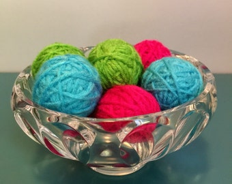Decorative yarn balls, deco balls, vase filler, bowl filler, lime green bright pink and teal yarn balls