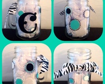 Monogramed Polka Dot Mason Jar Hand Painted ~ Monogramed Glass Designs ~ Birthday Gifts For All Ages ~ Personalized Christmas Gifts