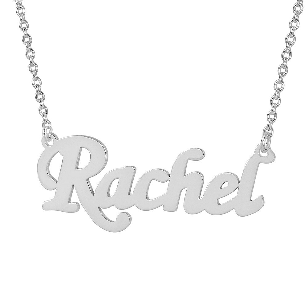 Small sterling silver laser cut personalized name necklace
