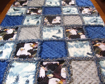 Baby rag quilt, rag quilt, eagle quilt, eagle blanket, eagle baby bedding, baby quilt, wilderness baby quilt, minky baby blanket, lap quilt