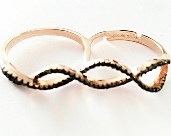 SALE 10% Infinity double two-finger ring, rose gold, black zircons, 925 sterling silver