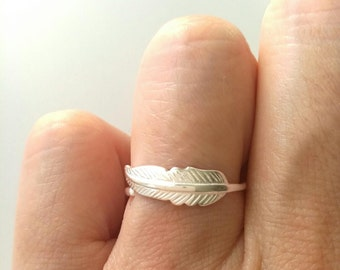 Ring pen, solid silver ring 925 ring sheet - adjustable size - ring Silver 925/000 - silver 925