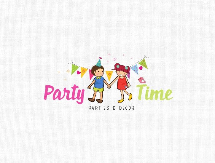 Custom Party Logo Design-Children Party Kids by MaggieArtStudio