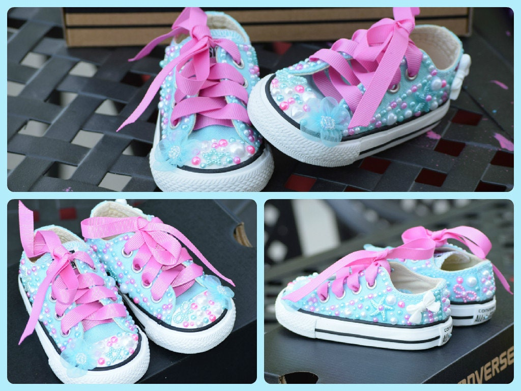 Blue & Pink Size 3 Baby Bling Converse Shoes Custom Toddler
