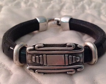 Textured Black Regaliz Licorice Leather Bracelet with Silver Accents