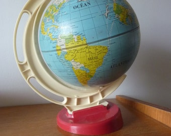 World map, globe Earth 60s vintage