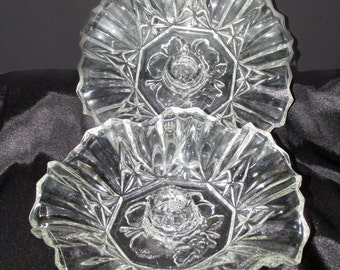 Pair of Pioneer Pattern Intaglio Fruit Candle Bowls by Federal Glass Co
