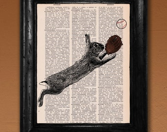 Dictionary Print: Baseball Bunny, Wall Decor, Recycled Dictionary Paper ZRP9067