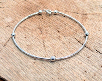 Silver Tube Stacker Bracelet