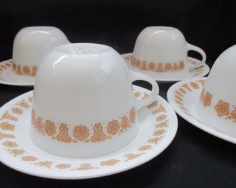 Vintage Pyrex/Corelle set of 4 Butterfly Gold Tea/Coffee Cups and Saucers. 1981 to 1986