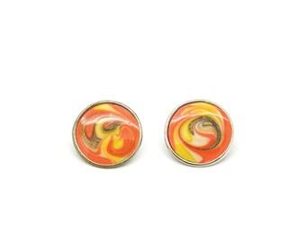 Vintage earrings. Pierced ears. Colorful. Sunshine. Retro jewelry. Round earrings.