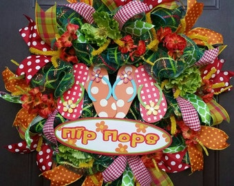 Flip Flop Summer Wreath-Colorful Summer Wreath-Outdoor Summer Wreath for Sale-Green, Orange and Red Deco Mesh Wreath with Flip Flop Sign