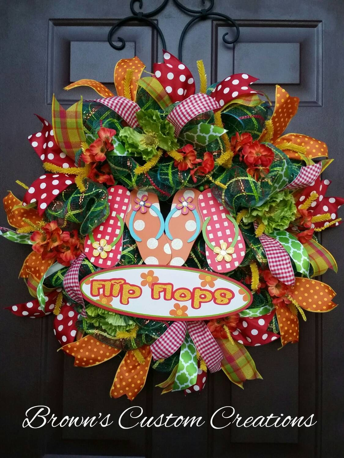 flip flop summer wreath colorful summer wreath outdoor summer