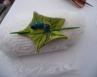 Hair pin, Leaf hair pin ,  barrette,  slide , hair decoration ,green + gold leaf ,  turquoise berries ,  original designs by Lilo