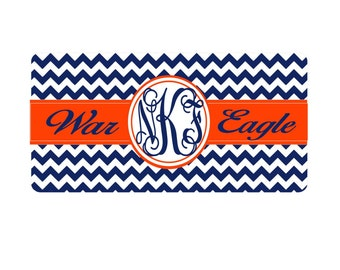 Auburn Tigers car tag, Personalized monogram War Eagle license plate,  chevron Auburn license plate,
