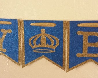 King Happy Birthday Banners,Royal Blue and Gold King,King party decorations,King crown banners,