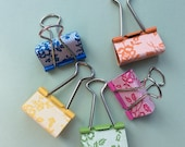 Lace binder clips - stamped lace pattern - rainbow colours - unique floral organiser, bulldog, foldback clips - teacher gift - Stampin' Up!