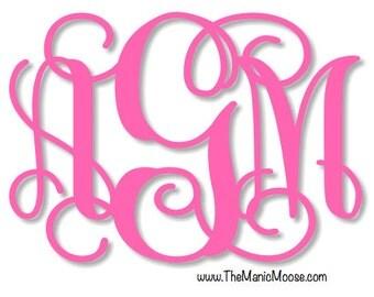 Hot Pink Monogram Car Decal ~ Interlocking Monogram ~ Personalized Vinyl Monogram