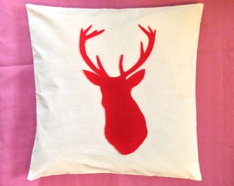 Stag - Cream Unique Cushion Pillow Cover with a Stag Felt Design