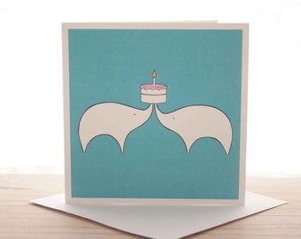 Greetings card - 'Cake!' Elephants card