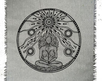 Linen altar cloth Mother Earth Crystal Grid Cloth The Goddess Divine