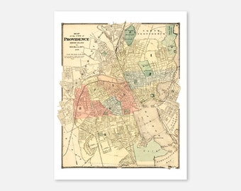 Providence Rhode Island Vintage Map Print