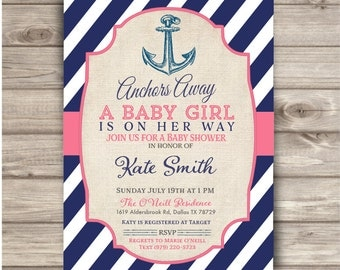 Nautical Baby Shower Printable Invitations Navy Blue and Pink Theme Party Navy Girl Anchor Anchors Away, A baby Girl is on her way NV209