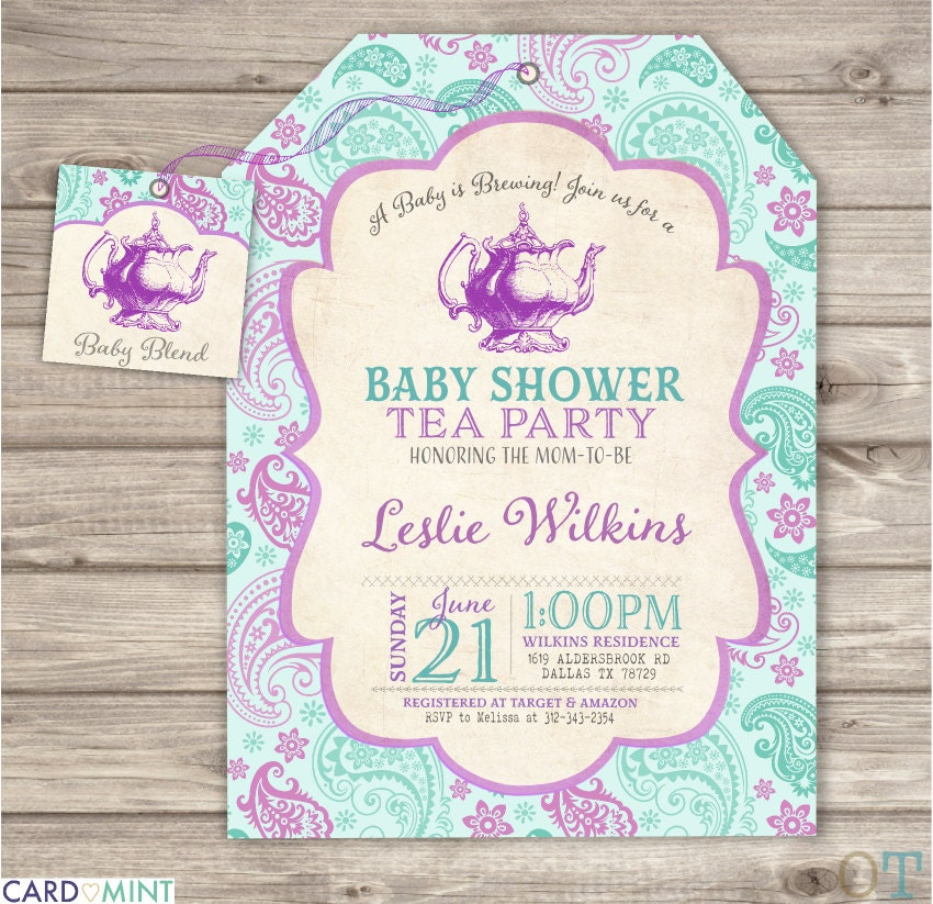 baby is brewing baby shower tea party invitations by cardmint
