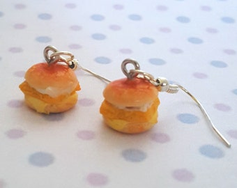 Miniature Fish Sandwich burger Earring with Silver Plated or Sterling Silver your choice
