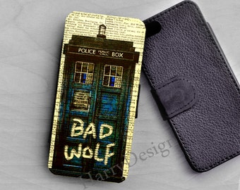 Wallet leather case, Bad Wolf Doctor Who Tardis iPhone 6 /4 / 4s / 5 / 5s /5c, Samsung Galaxy S3 / S4 / S5 / S6 case, Galaxy Note 2 3 4 case