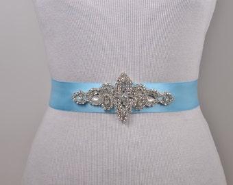 SALE - Bridal Sash, Rhinestone Crystal Belt, Wedding Dress Belt, Bridal Bridesmaid Flower Gilr Sash, Headband, Bridal Sash L103