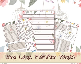 Bird Cage and Floral Daily Planner and Journal Digital File