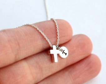 Tiny Silver Cross Necklace, Personalized Initial Gift for Birthday, best friend, Bridesmaid gift Jewelry, bridal, Weddings Necklace jewelry